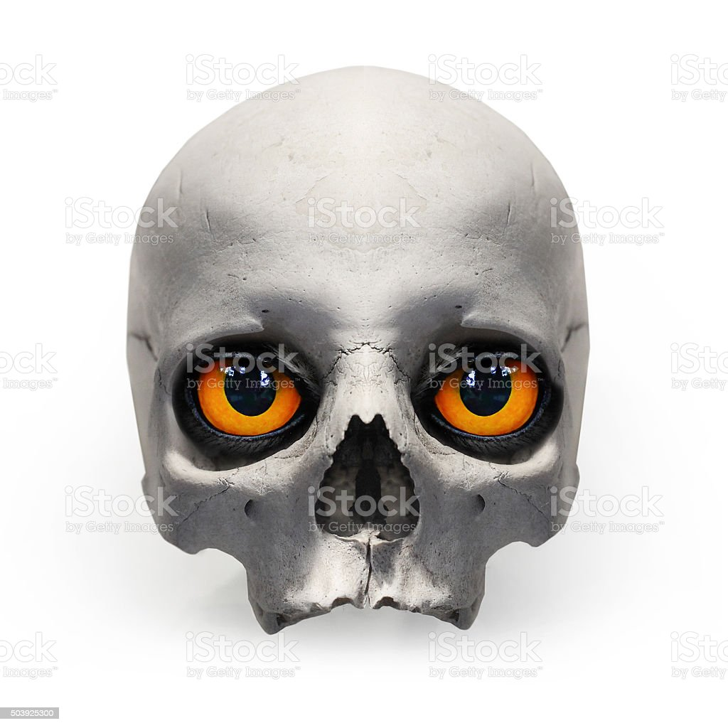 Human skull with evil eyes. stock photo