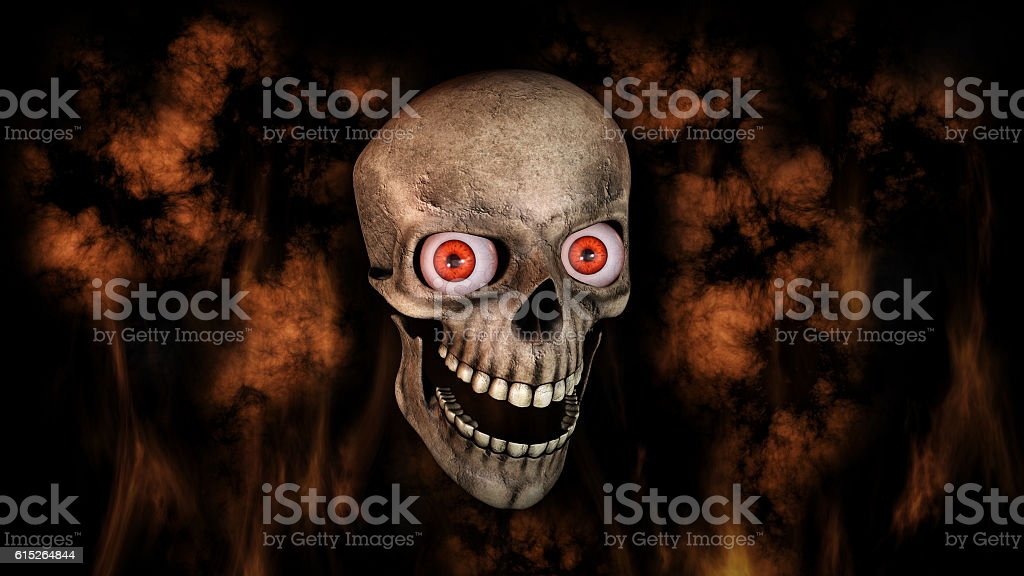 Human Skull With Eyes And Scary, Evil Look 3D Rendering stock photo