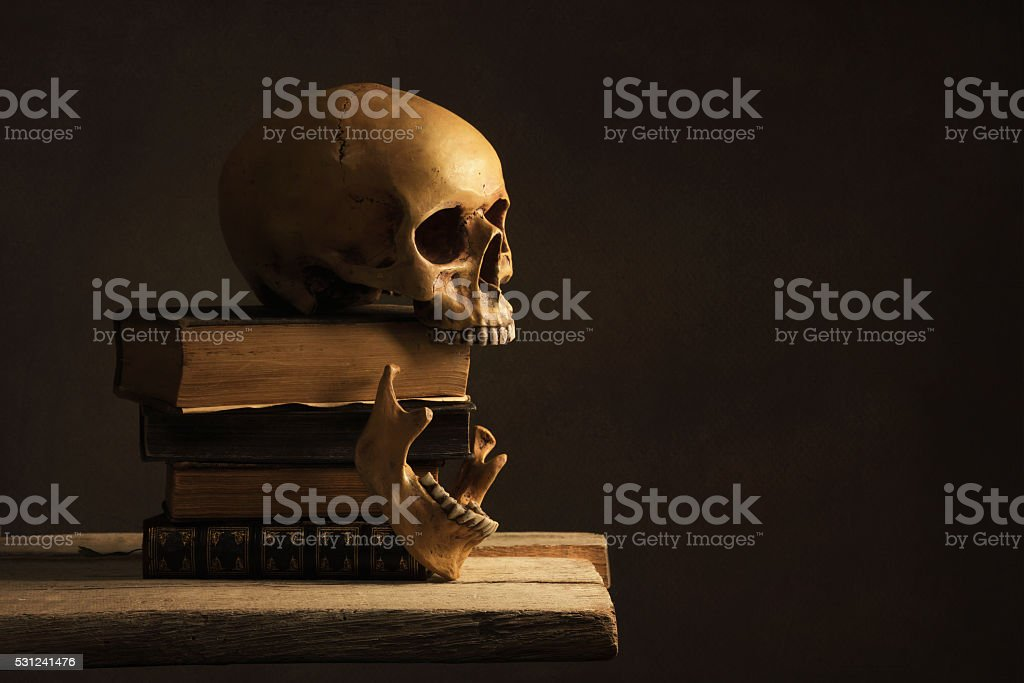 Human Skull with Jawbone on old Books stock photo