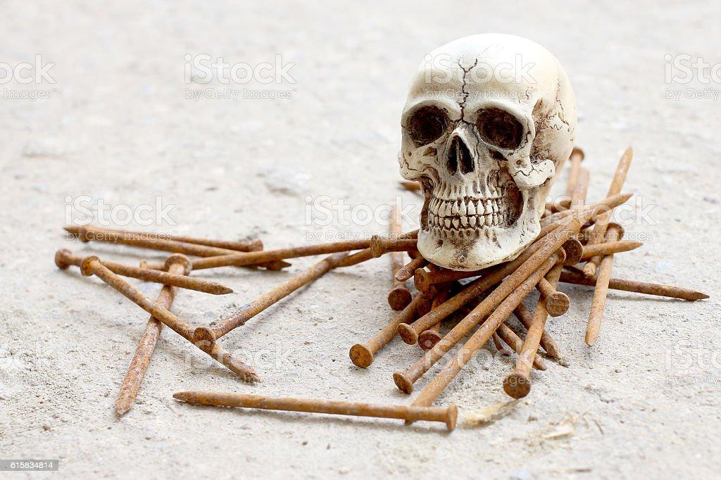 human skull with Rusty nails on cement floor, still life stock photo
