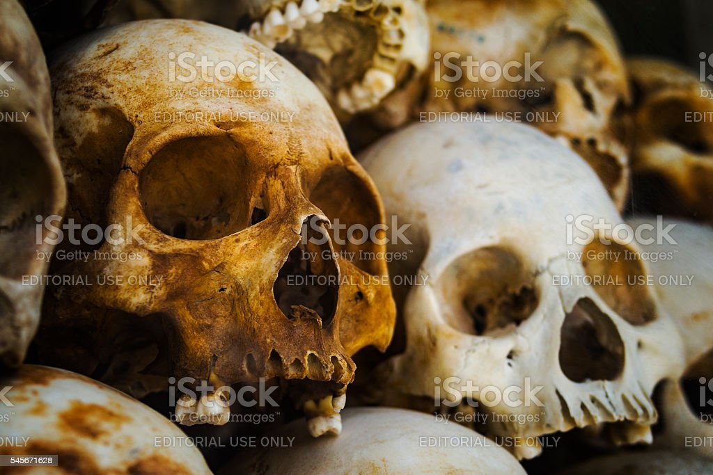 Human Skulls at the Killing Fields in Phnom Penh, Cambodia stock photo