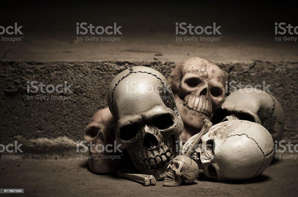 human skulls on old stairs stock photo