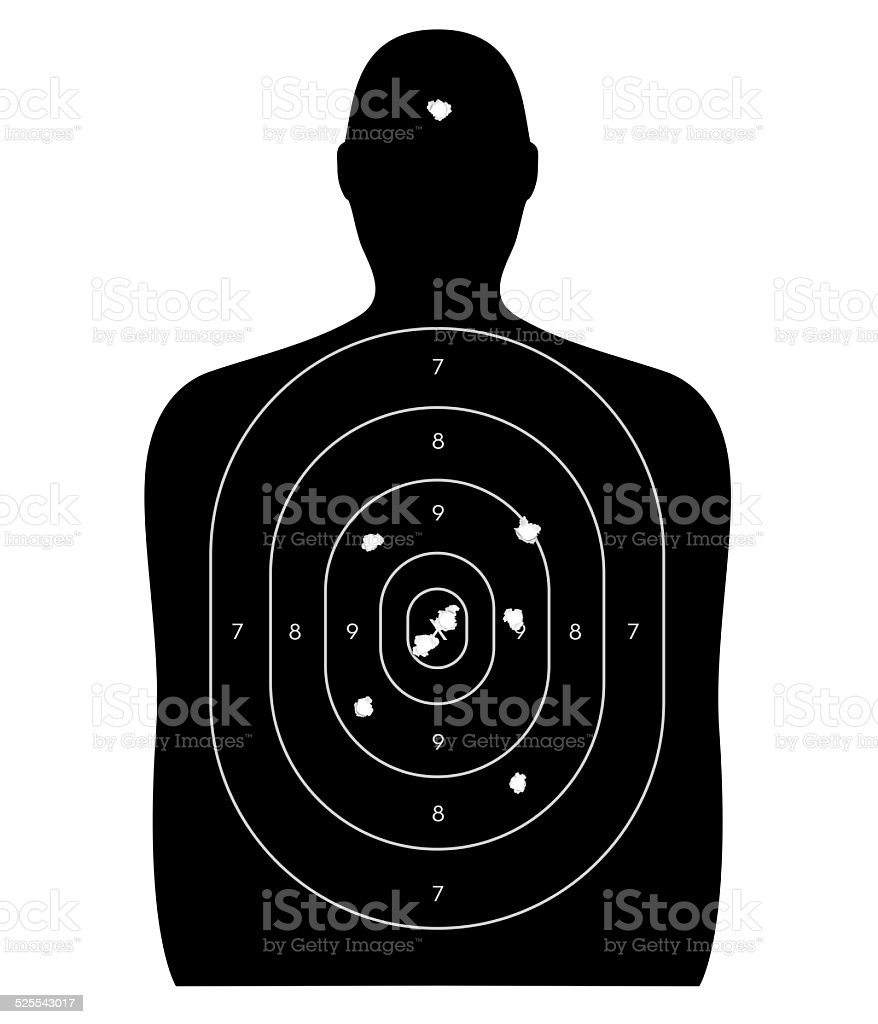 Human Target with Bullet Holes vector art illustration