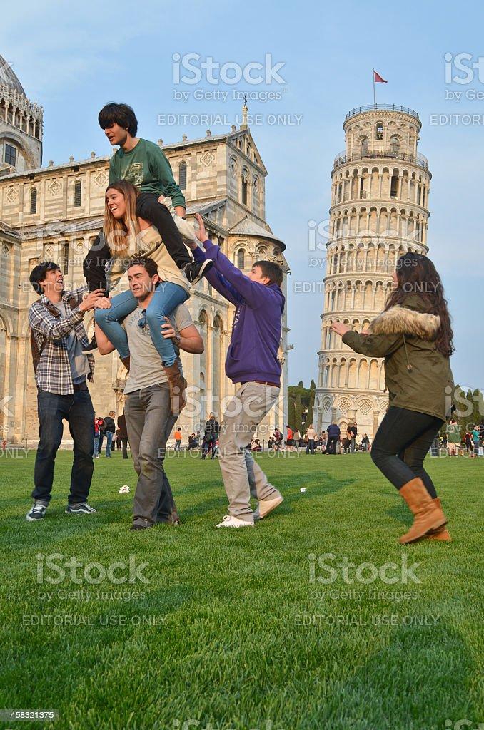 Human tower at Pisa stock photo