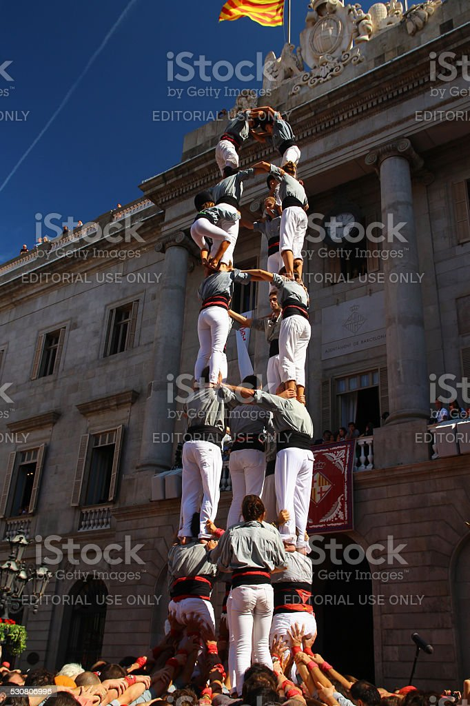 Human Tower 'castellers' stock photo