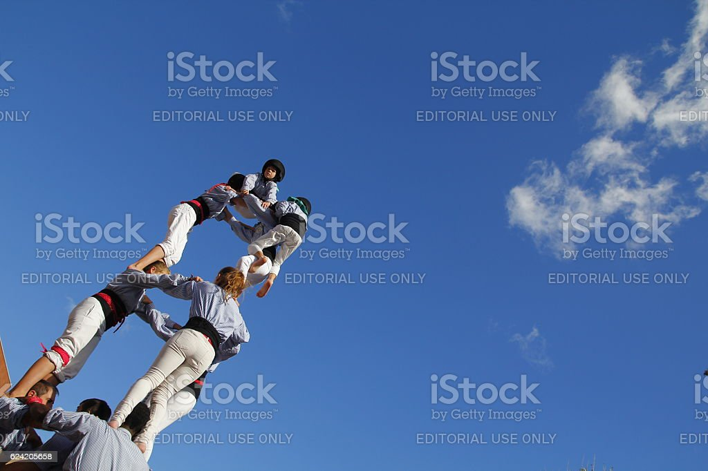 Human towers Castellers stock photo