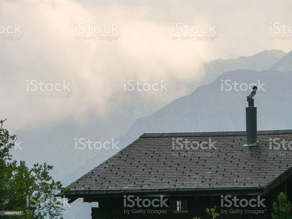 human trace in alps stock photo