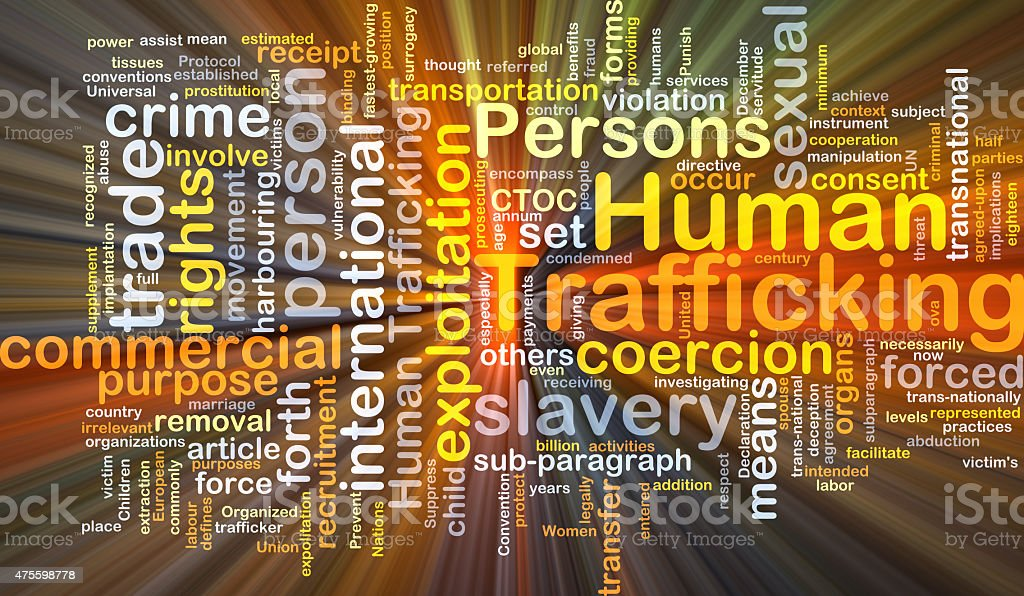 Human trafficking background concept glowing stock photo