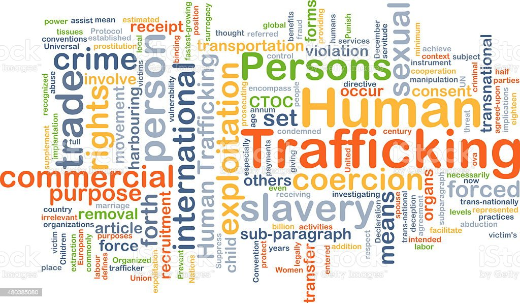 Human trafficking background concept stock photo