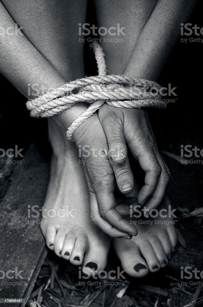 Human trafficking - Concept Photo stock photo