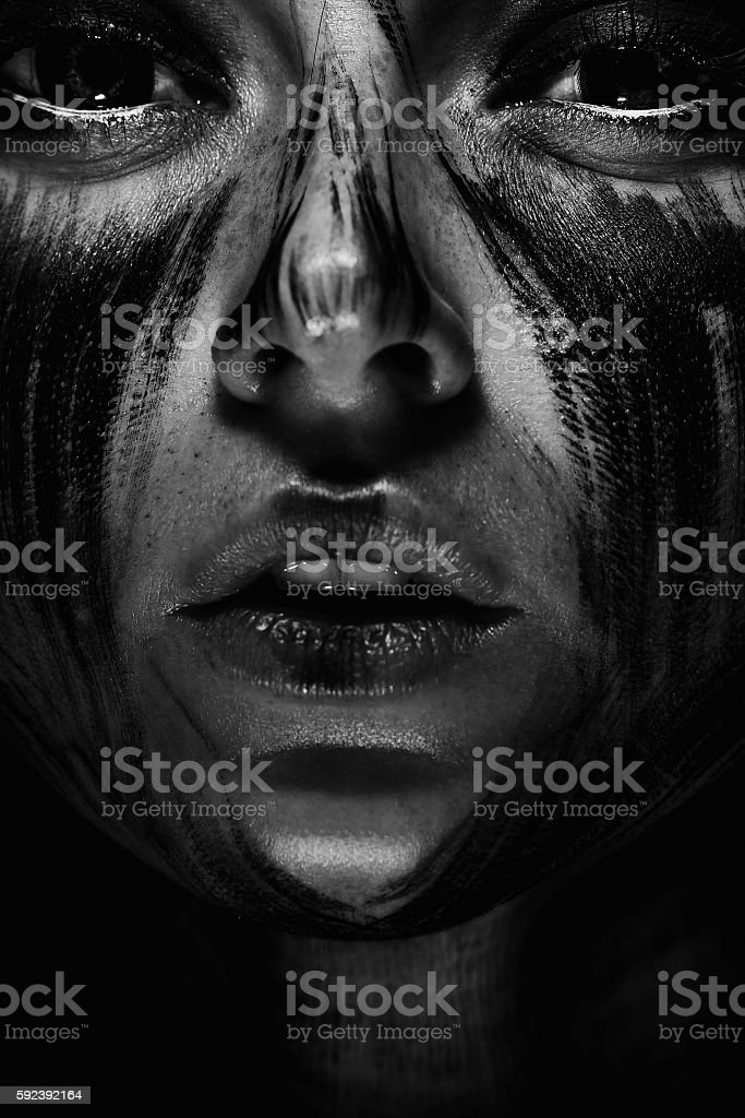 Human with black soul stock photo