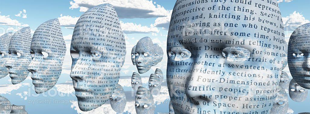 Humanlike faces covered in text stock photo