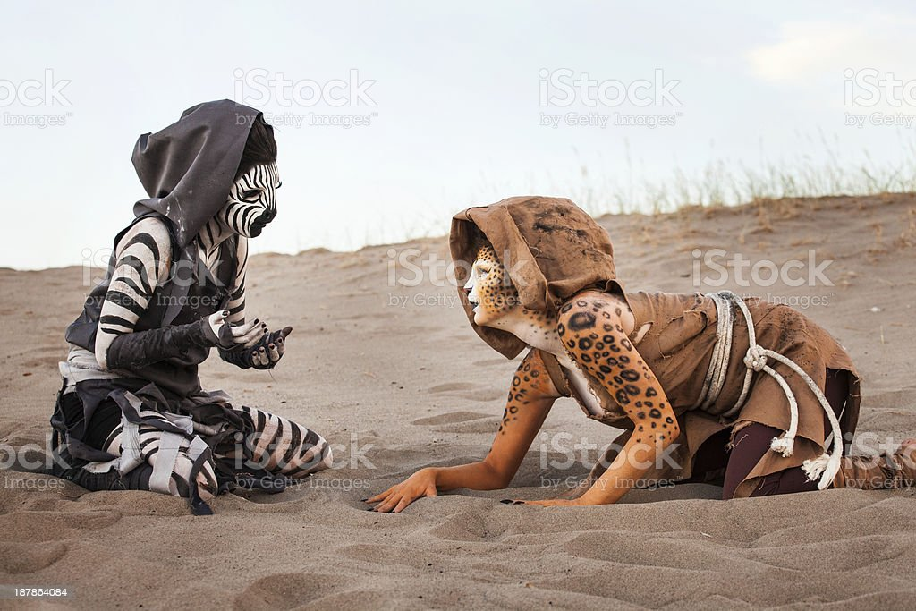 Humanoid Women in the Desert royalty-free stock photo