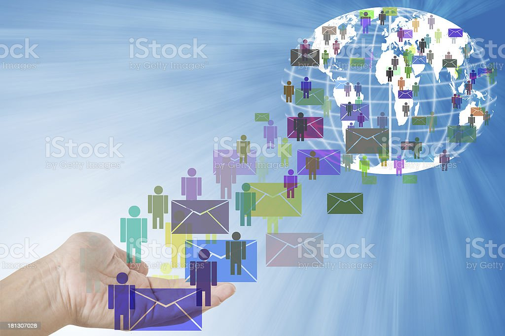 humans and letters on hand from world. stock photo