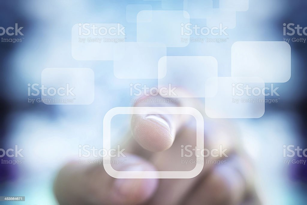 Humans interact with touchscreen device royalty-free stock photo