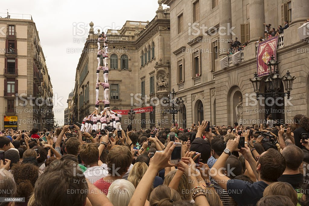 Humans Tower Contest in Barcelona Merce 2012 stock photo