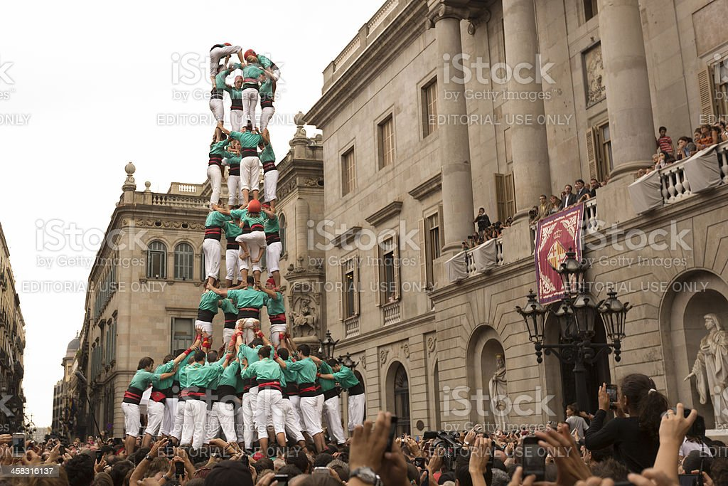Humans Tower Contest in Barcelona Merce 2012 royalty-free stock photo