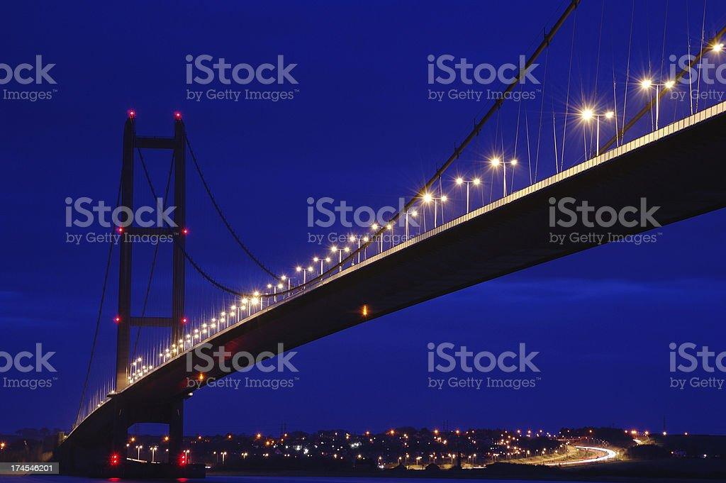 Humber Bridge at Night royalty-free stock photo