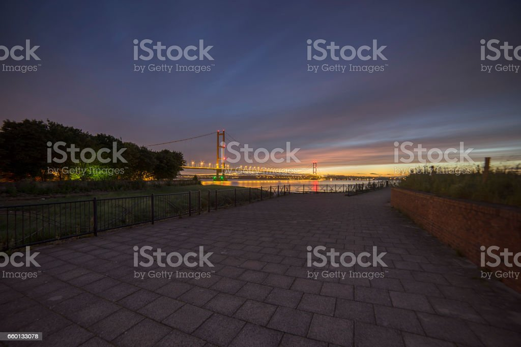 Humber Bridge at Night stock photo