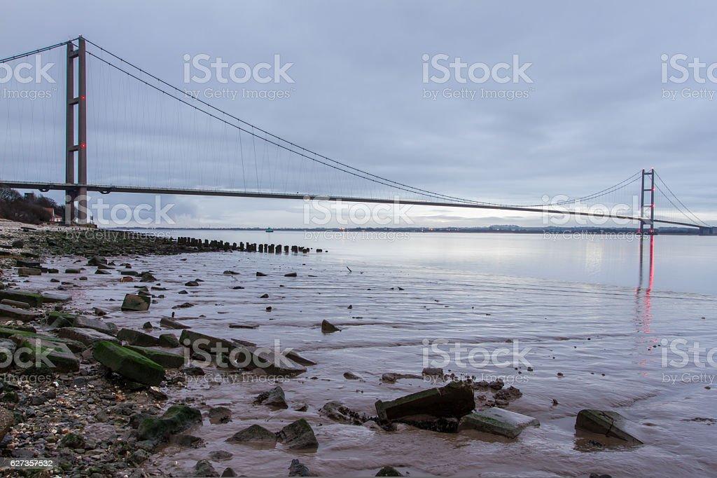 Humber Bridge at sunrise (Hull, UK) stock photo