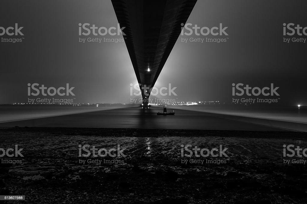 Humber Bridge at twilight (Hull, UK) stock photo