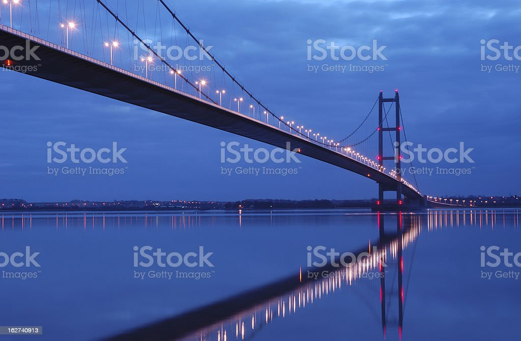 Humber bridge glowing at night stock photo