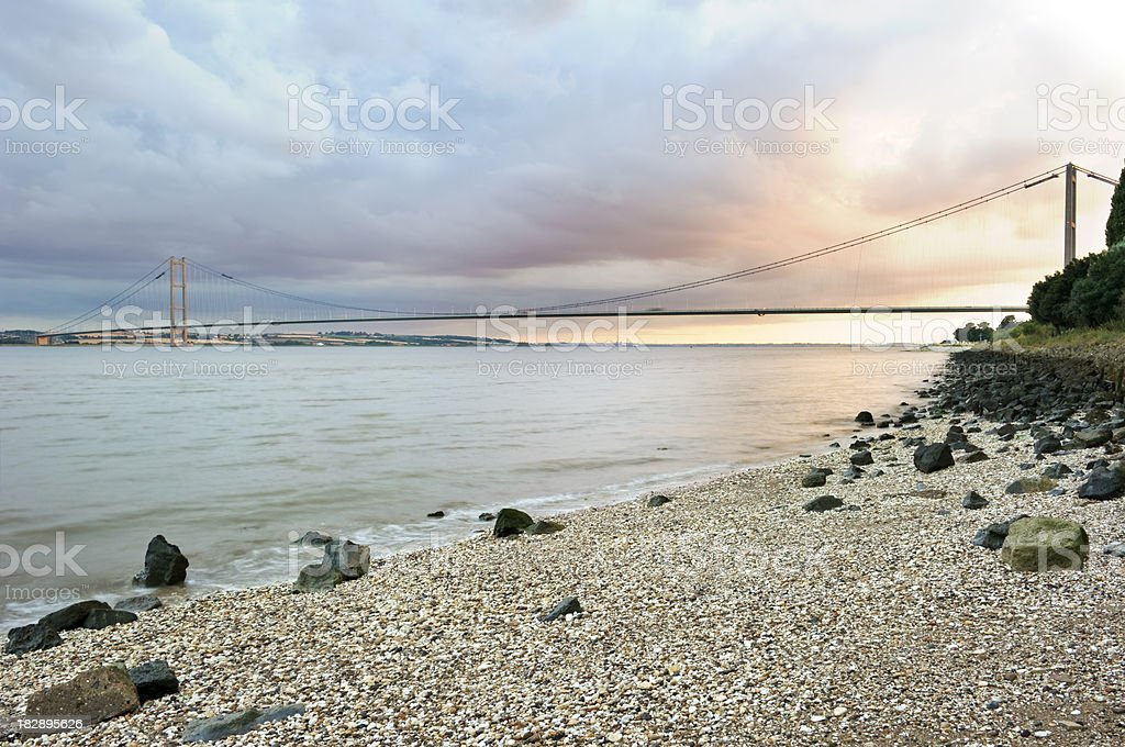 Humber Bridge sunset royalty-free stock photo