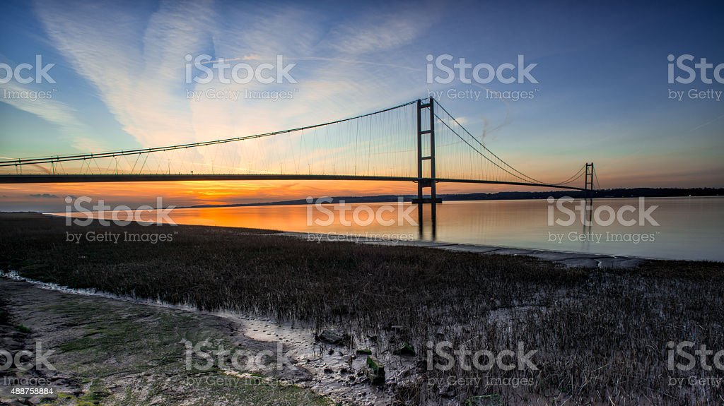 humber bridge sunset stock photo