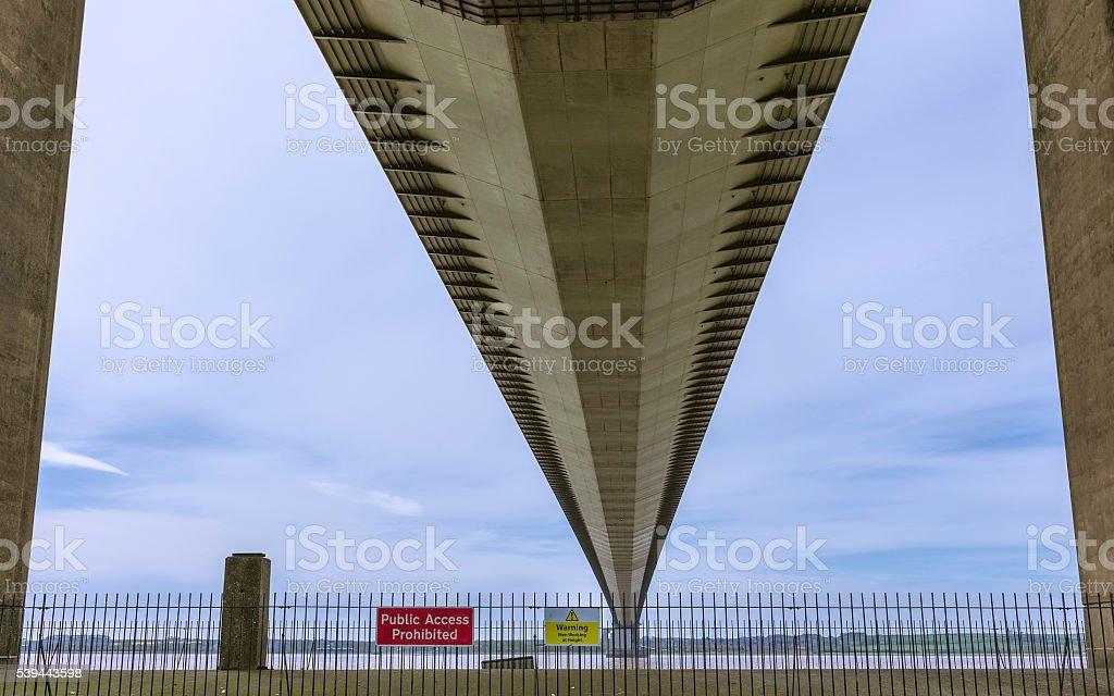 Humber Bridge viewed from the underside of the bridge. stock photo