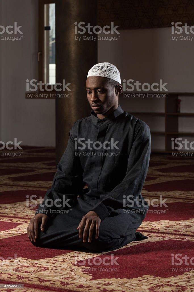 Humble African Muslim Prayer stock photo