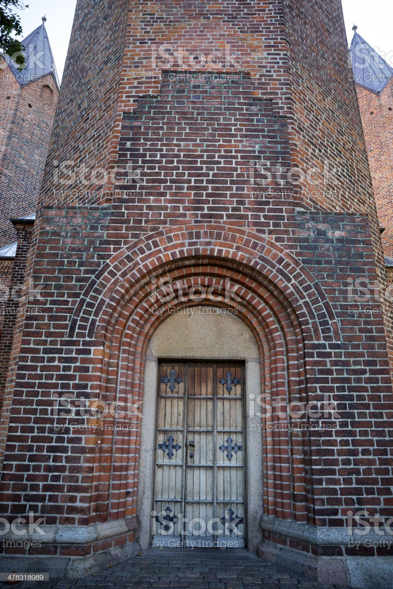 Humble main entrance to the Church of Our Lady, Kalundborg royalty-free stock photo