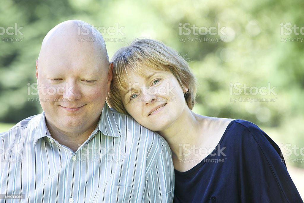 Humble Man with Cancer and His Wife stock photo