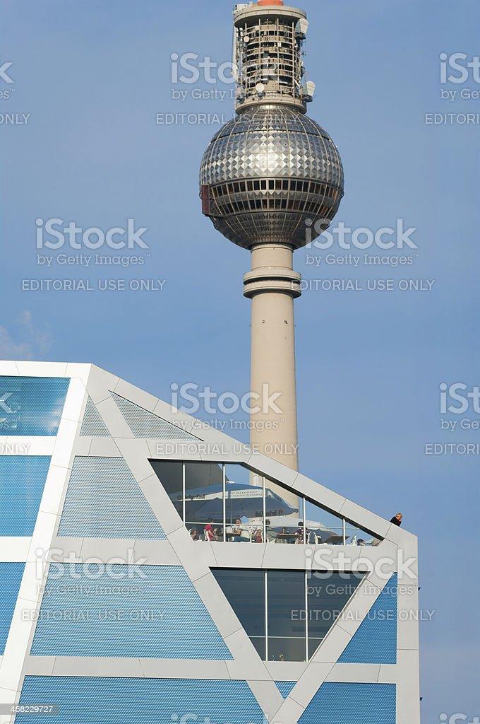 Humboldt Box and Fernsehturm in Berlin stock photo