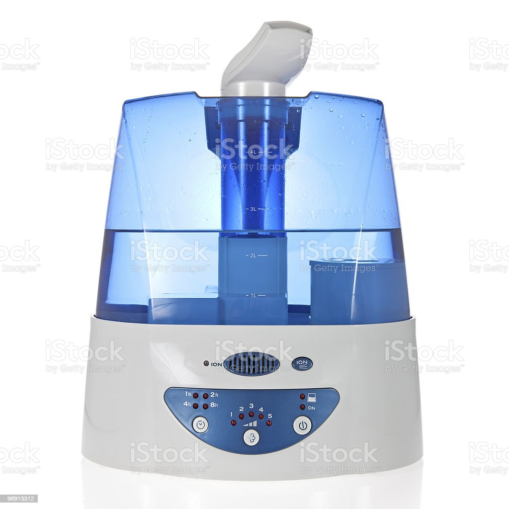 Humidifier with ionic air purifier isolated on white stock photo