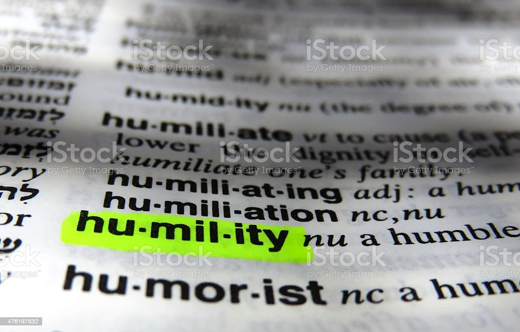 Humility - dictionary definition stock photo