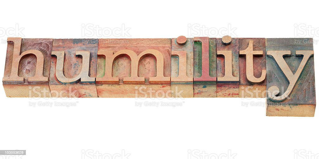 humility word in letterpress type stock photo