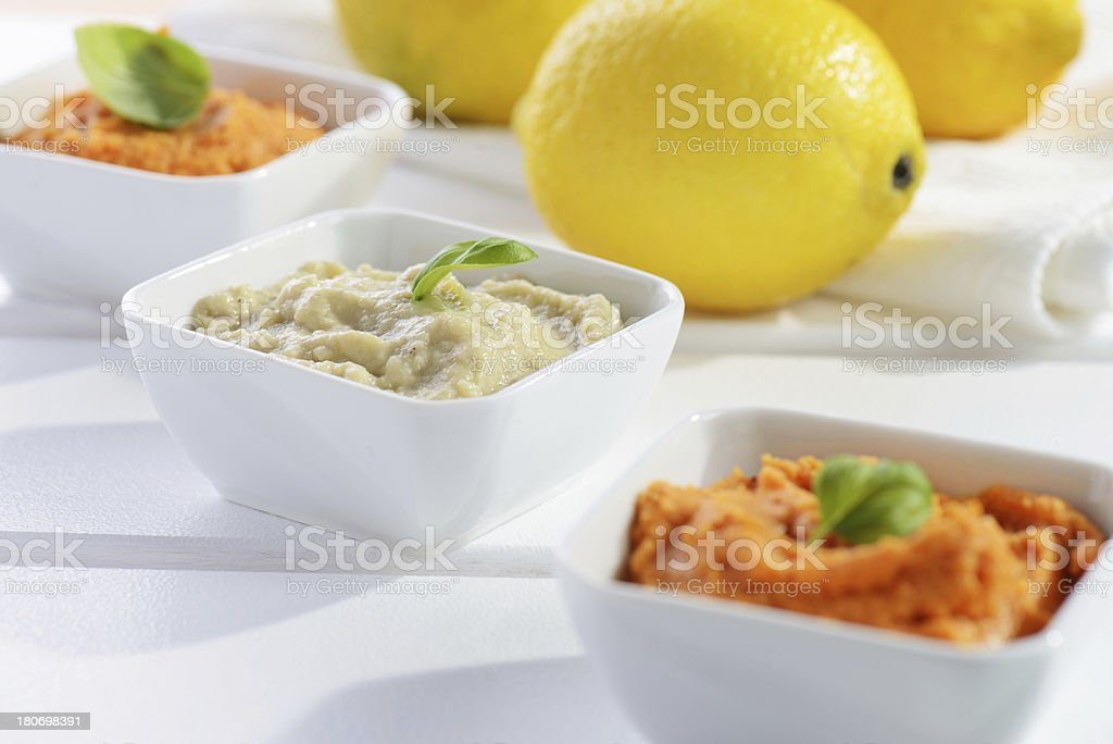 Hummus, Baba Ghanoush royalty-free stock photo
