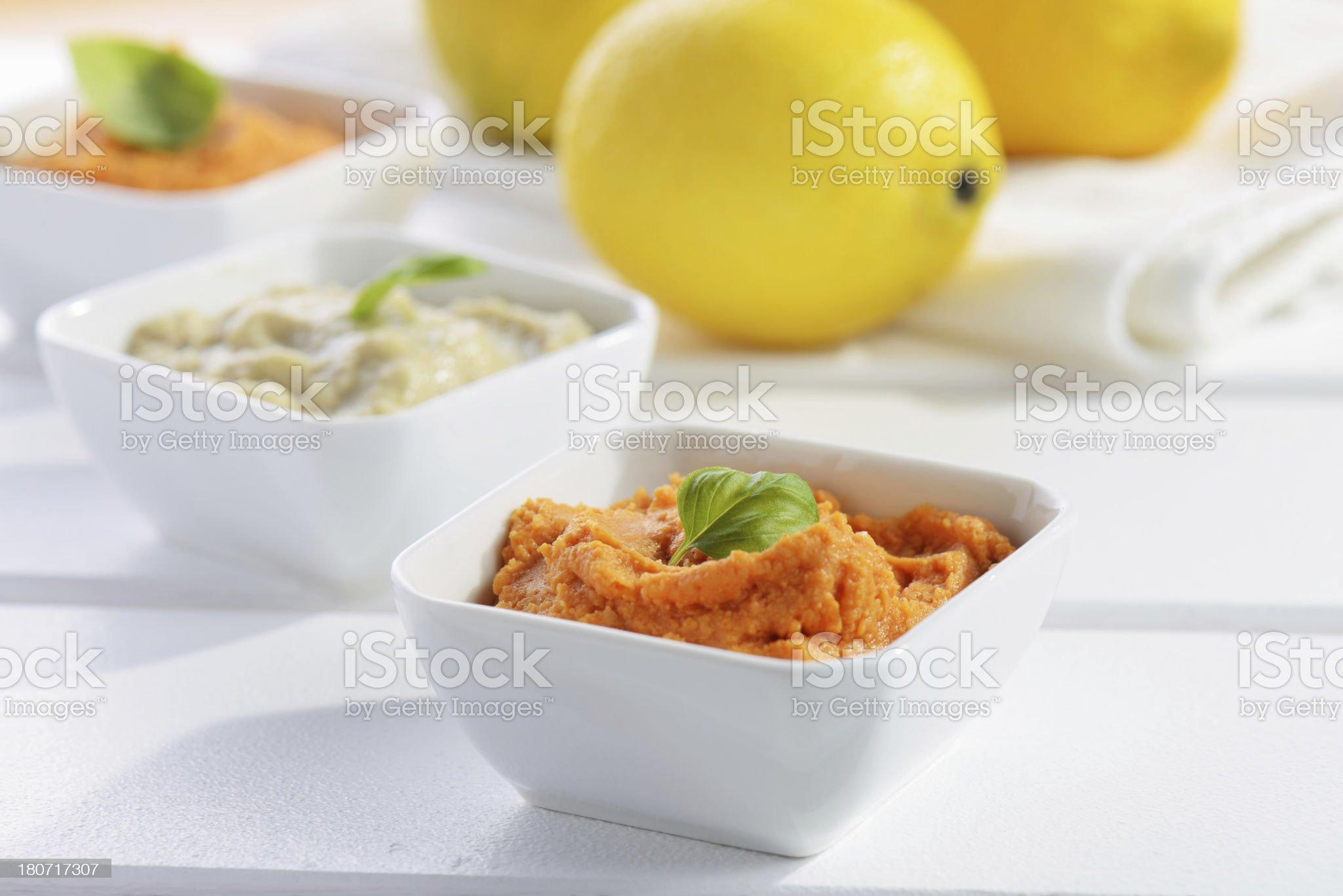 Hummus, Baba Ghanoush royalty-free stock photo