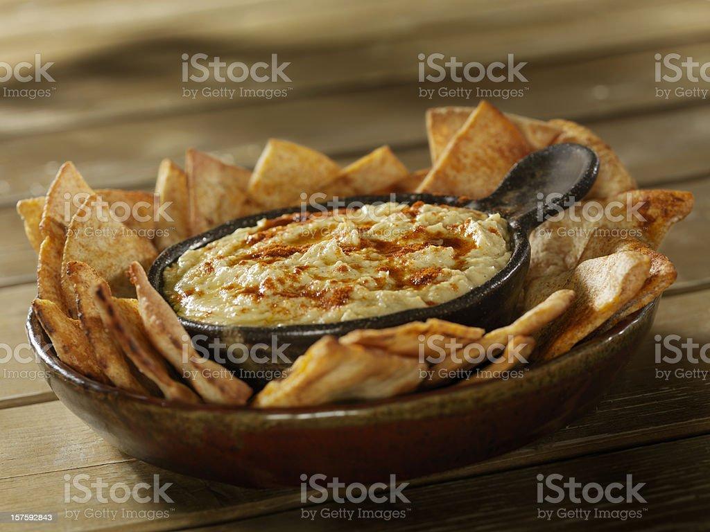 Hummus with Pita Chips royalty-free stock photo