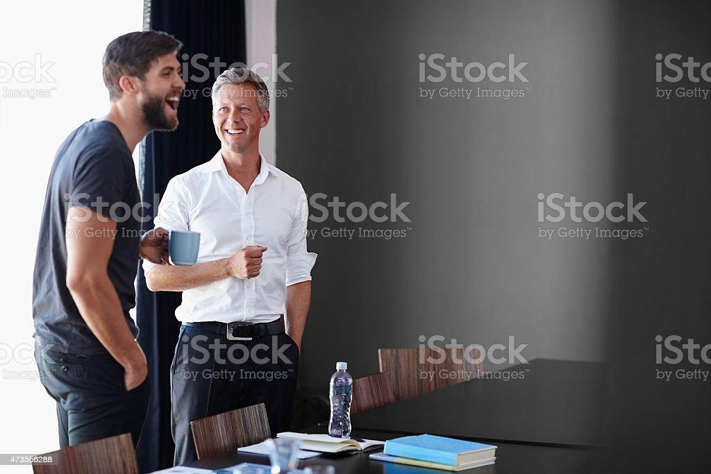 Humor in between hard work stock photo