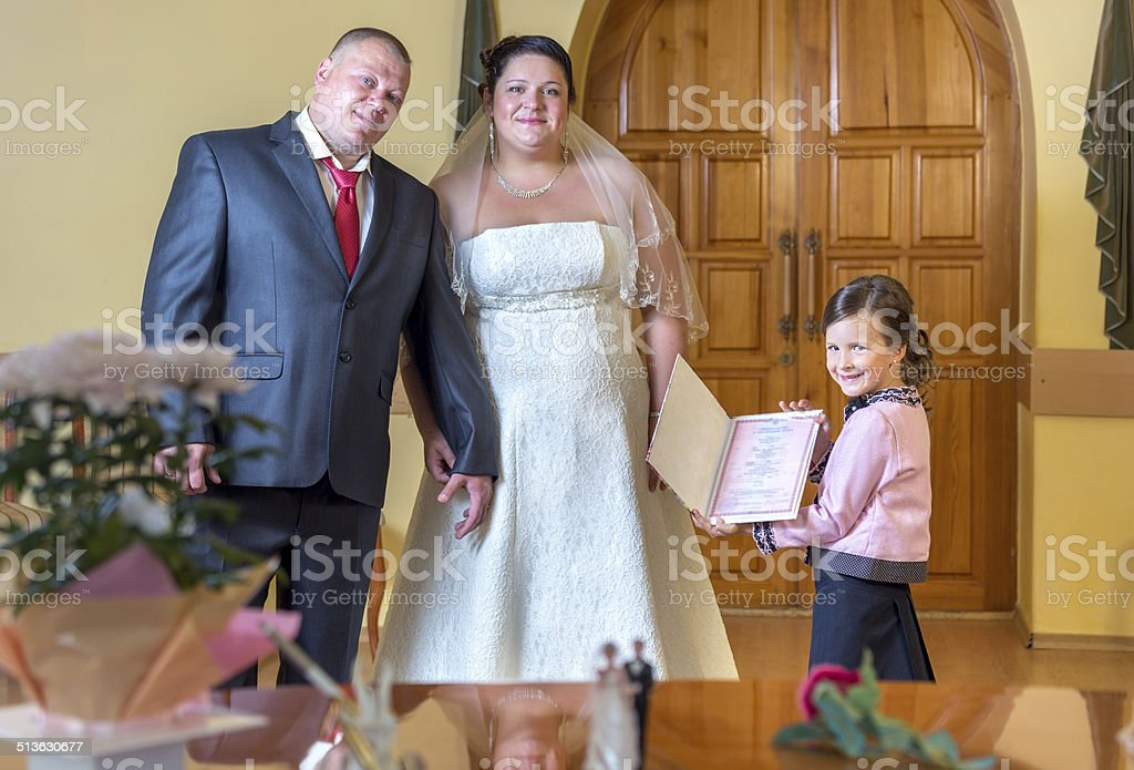 Humorous civil marriage ceremony stock photo