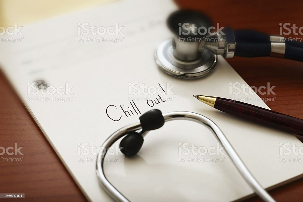 Humorous medical prescription says Chill out! royalty-free stock photo