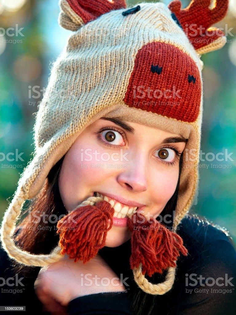 Humorous portrait of a beautiful girl. stock photo