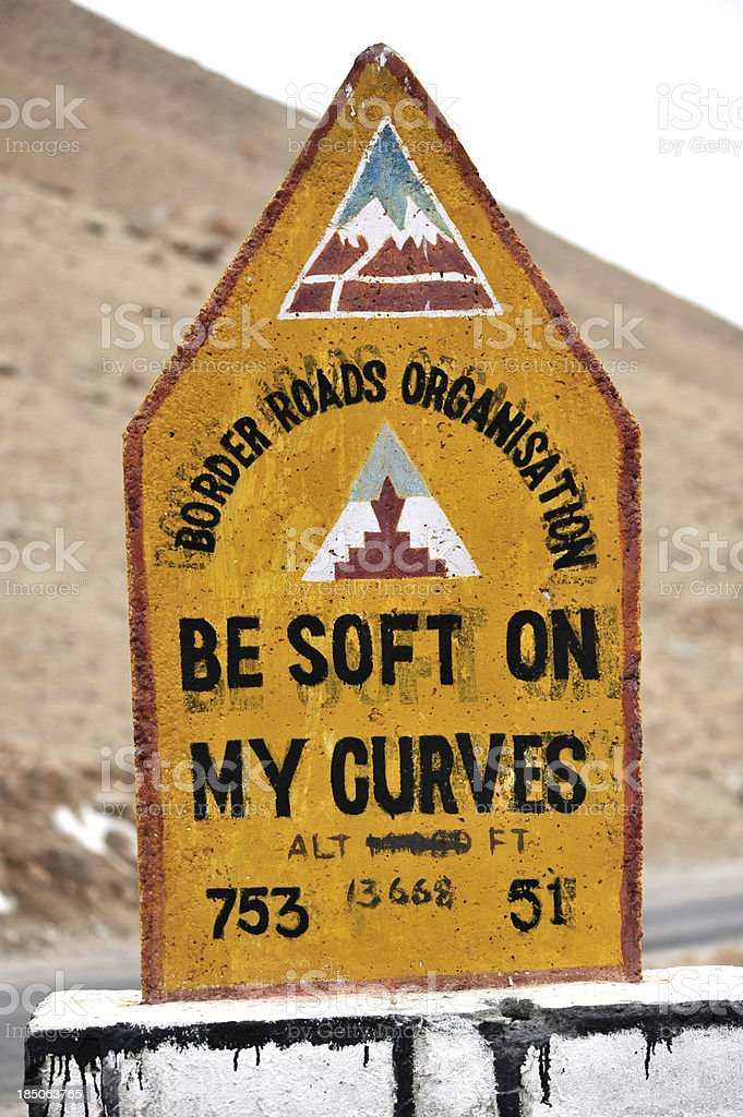 Humorous road warning in India stock photo