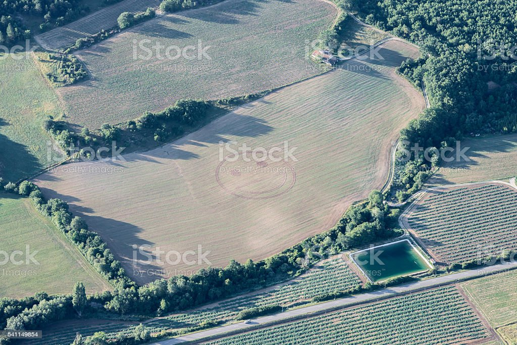 Humorous smiley emoticon on a harvested green field of Provence stock photo