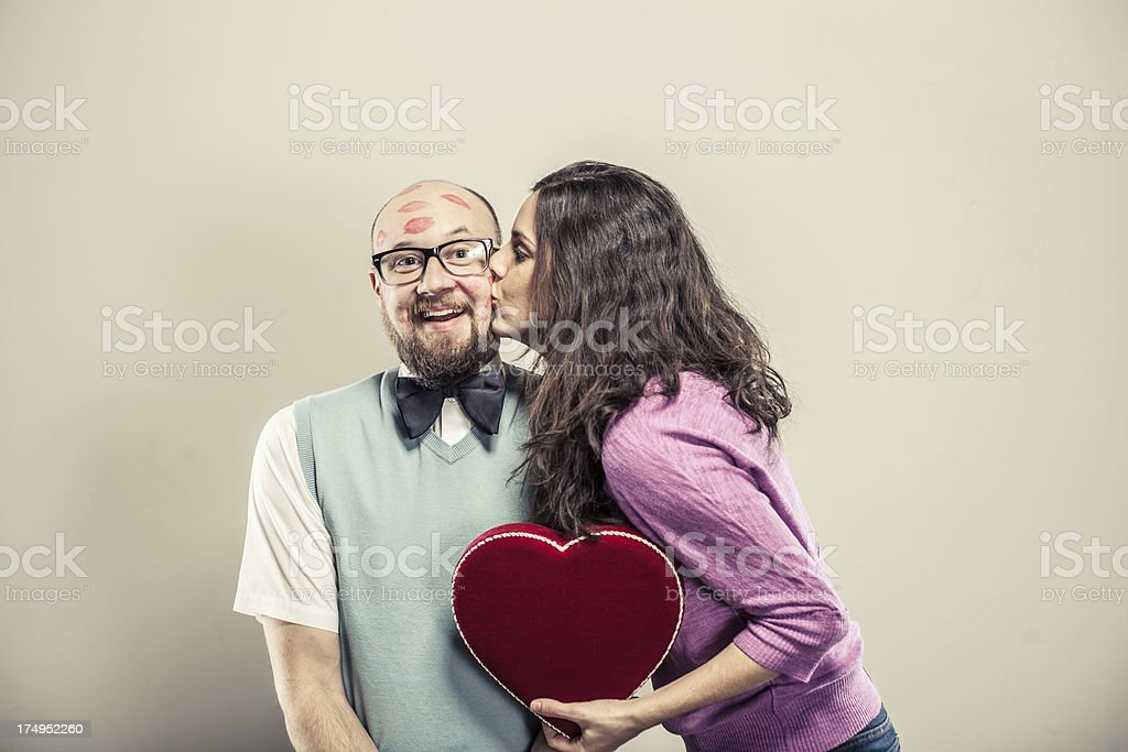 Humorous Valentine's Day Kiss royalty-free stock photo