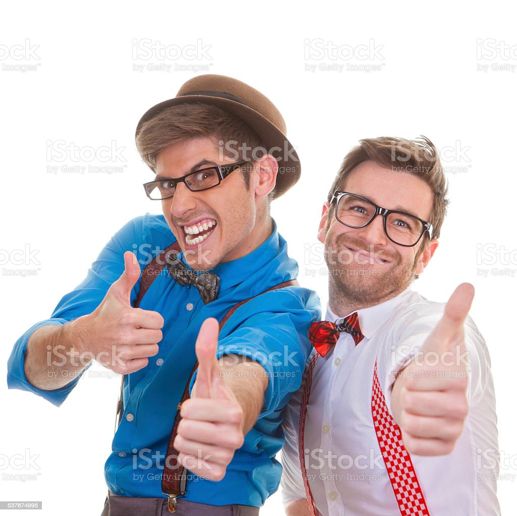 humour, business men with thumbs up for success stock photo