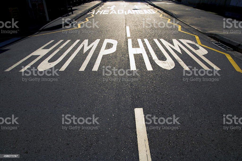 Hump on road stock photo