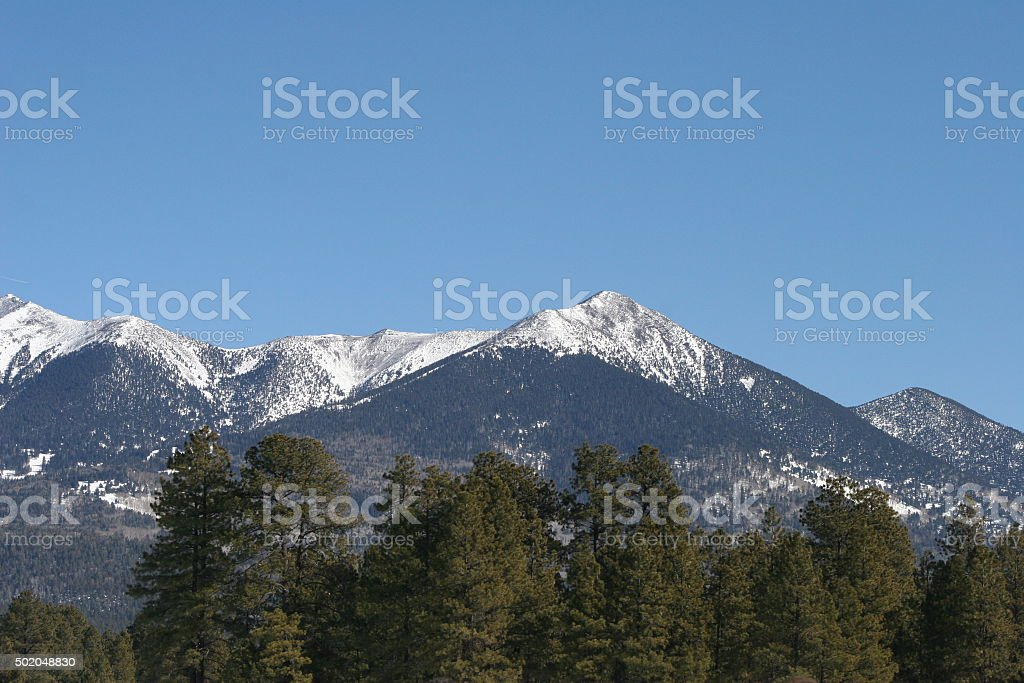 Humphreys Peak on a Clear Wintry Day stock photo