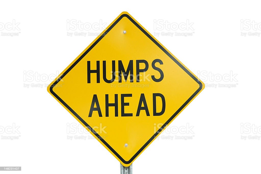 Humps Ahead Sign Isolated on white with clipping path royalty-free stock photo